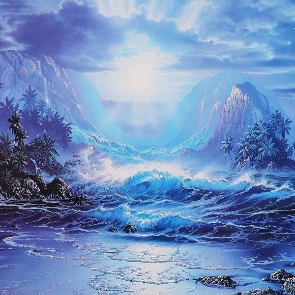 クリスチャン・ラッセン 巨大版画 真作保証 ハワイ マウイ 海 波 夜景 月夜 星空 クジラ イルカ 月 満月 星 大自然 砂浜 浜辺 風景 絵画_画像3