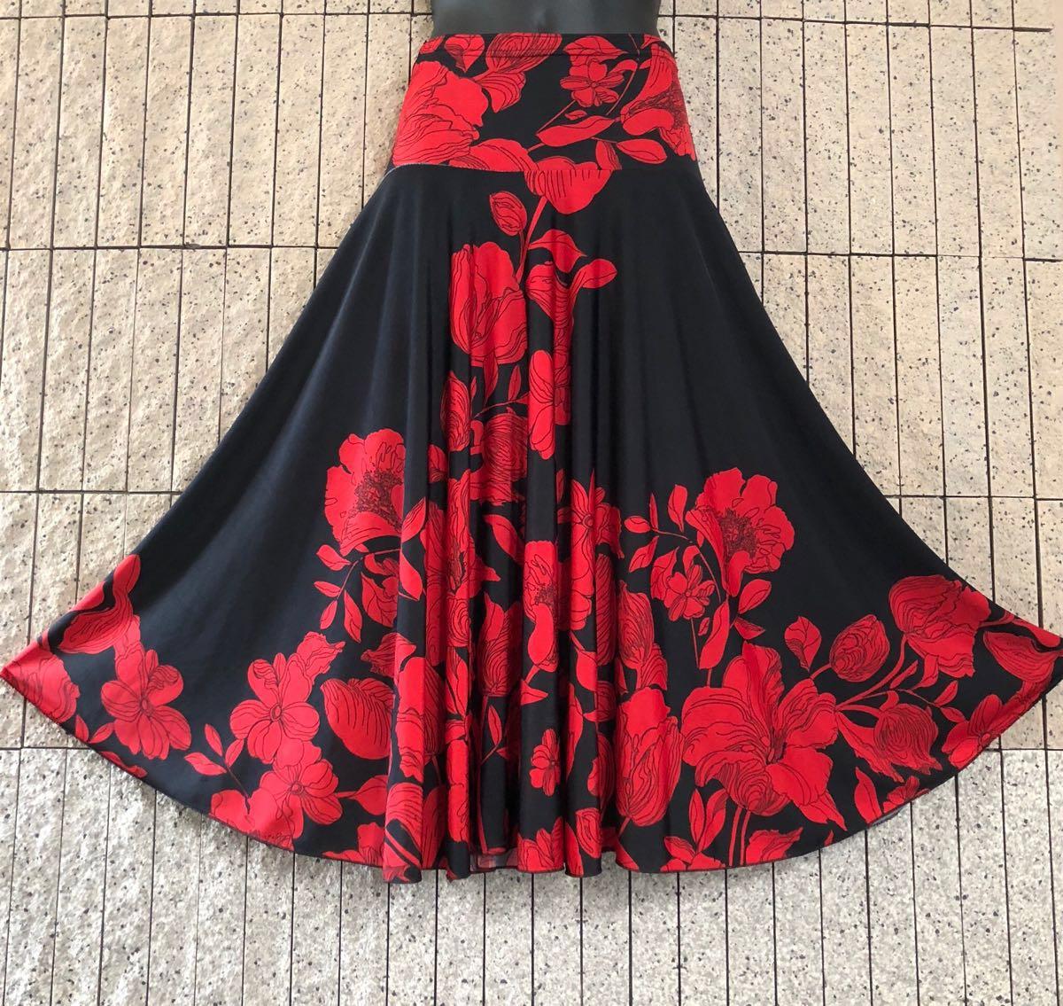社交ダンス 花柄 赤 黒スカート パーティー ドレス ロングスカート モダン お洒落 スタンダード フレア