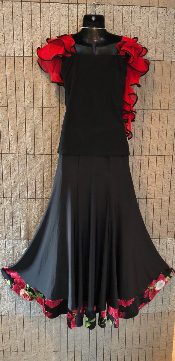 社交ダンス 薔薇 黒スカート パーティー ドレス モダン バラ ロング M スタンダード ブラック リボン_画像3