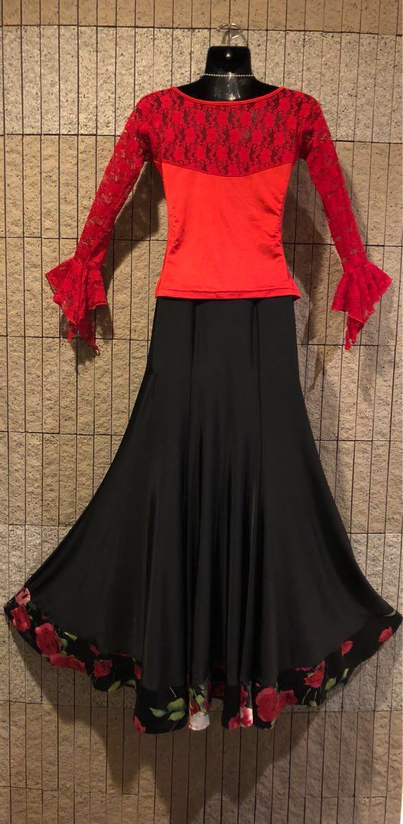社交ダンス 薔薇 黒スカート パーティー ドレス モダン バラ ロング M スタンダード ブラック リボン_画像8