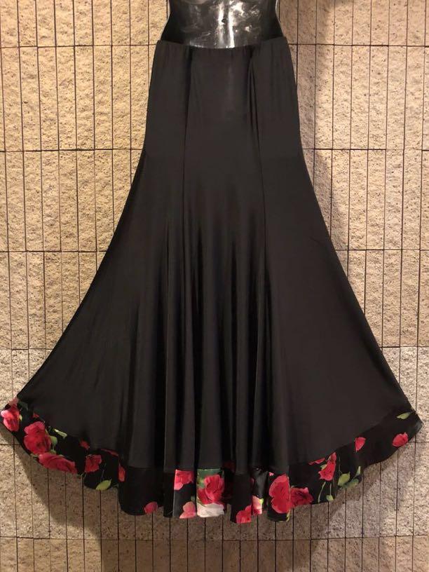 社交ダンス 薔薇 黒スカート パーティー ドレス モダン バラ ロング M スタンダード ブラック リボン_画像6