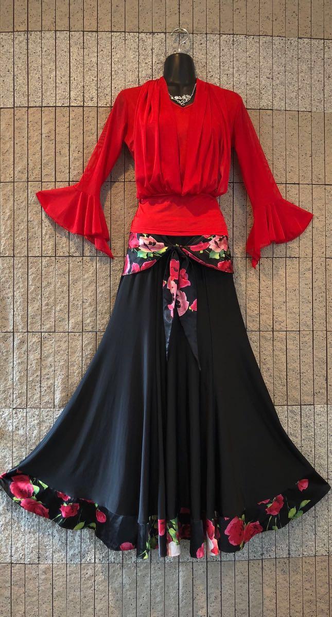 社交ダンス 薔薇 黒スカート パーティー ドレス モダン バラ ロング M スタンダード ブラック リボン_画像9