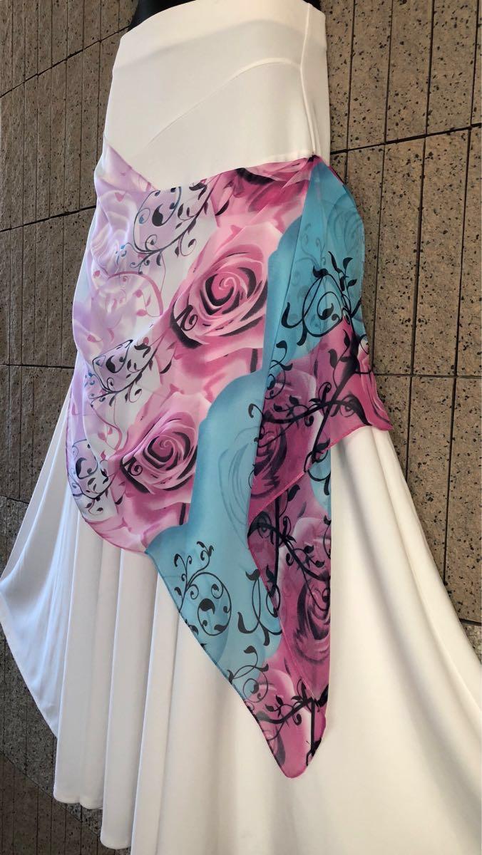 社交ダンス 白 スカート パーティー ドレス モダン バラ ホワイト ロング M スタンダード ひ。_画像3