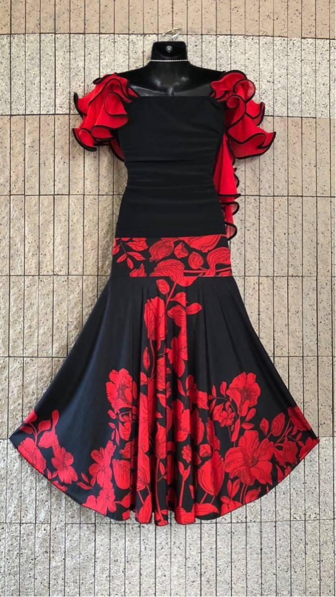 社交ダンス 花柄 赤 黒スカート パーティー ドレス ロングスカート モダン お洒落 スタンダード フレア_画像3