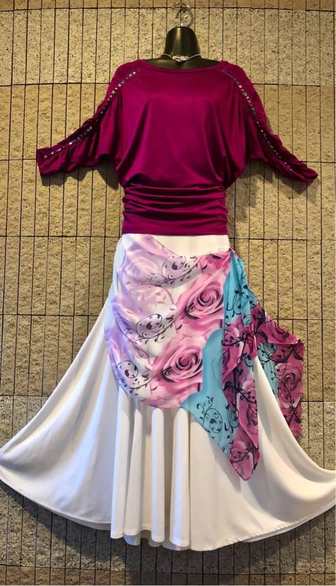 社交ダンス 白 スカート パーティー ドレス モダン バラ ホワイト ロング M スタンダード ひ。_画像8