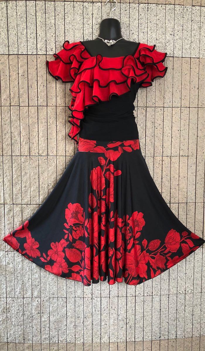 社交ダンス 花柄 赤 黒スカート パーティー ドレス ロングスカート モダン お洒落 スタンダード フレア_画像2