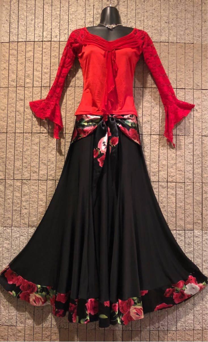 社交ダンス 薔薇 黒スカート パーティー ドレス モダン バラ ロング M スタンダード ブラック リボン_画像7