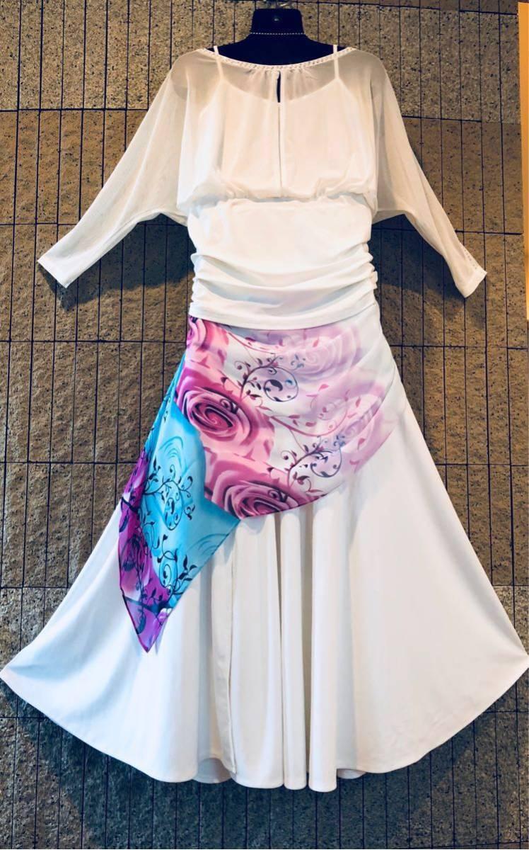社交ダンス 白 スカート パーティー ドレス モダン バラ ホワイト ロング M スタンダード ひ。_画像5
