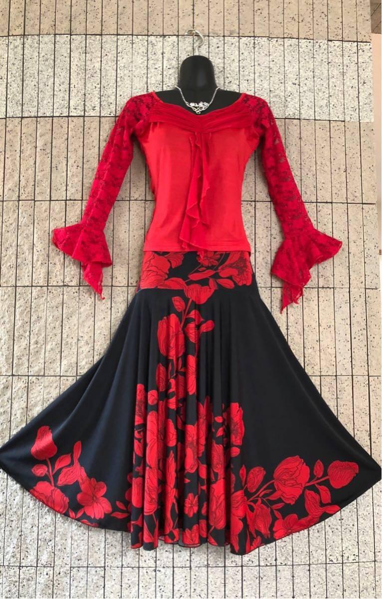 社交ダンス 花柄 赤 黒スカート パーティー ドレス ロングスカート モダン お洒落 スタンダード フレア_画像7