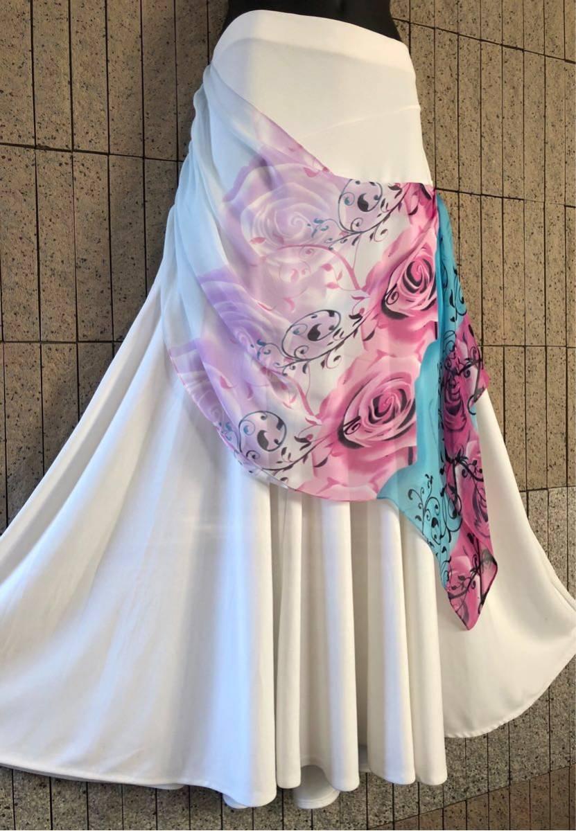社交ダンス 白 スカート パーティー ドレス モダン バラ ホワイト ロング M スタンダード ひ。_画像4