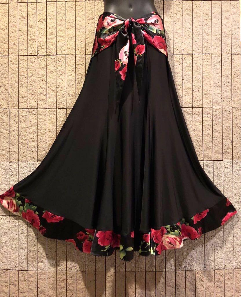 社交ダンス 薔薇 黒スカート パーティー ドレス モダン バラ ロング M スタンダード ブラック リボン