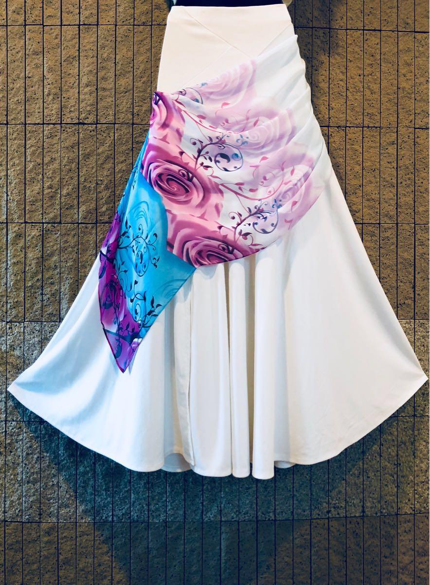 社交ダンス 白 スカート パーティー ドレス モダン バラ ホワイト ロング M スタンダード ひ。_画像6