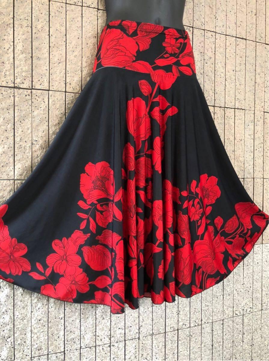 社交ダンス 花柄 赤 黒スカート パーティー ドレス ロングスカート モダン お洒落 スタンダード フレア_画像5