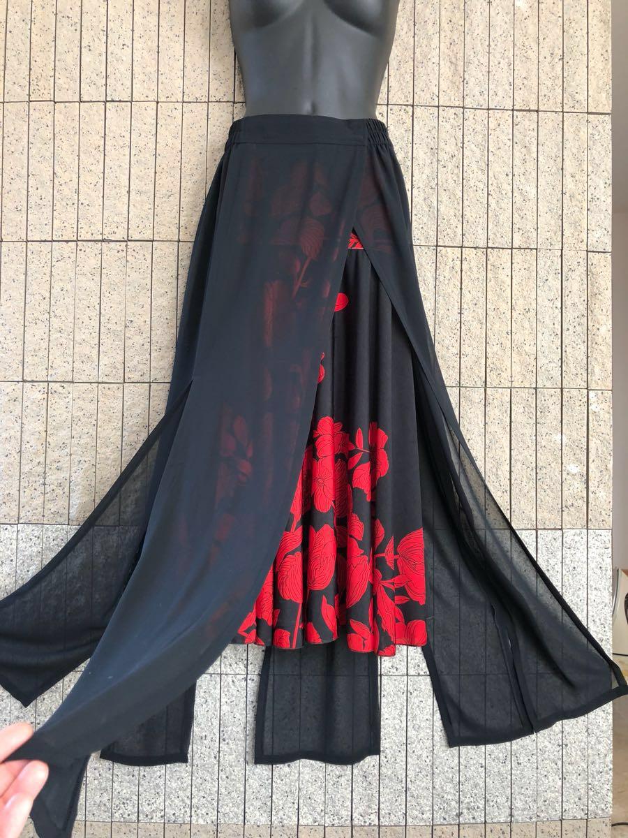 社交ダンス 花柄 赤 黒スカート パーティー ドレス ロングスカート モダン お洒落 スタンダード フレア_画像8