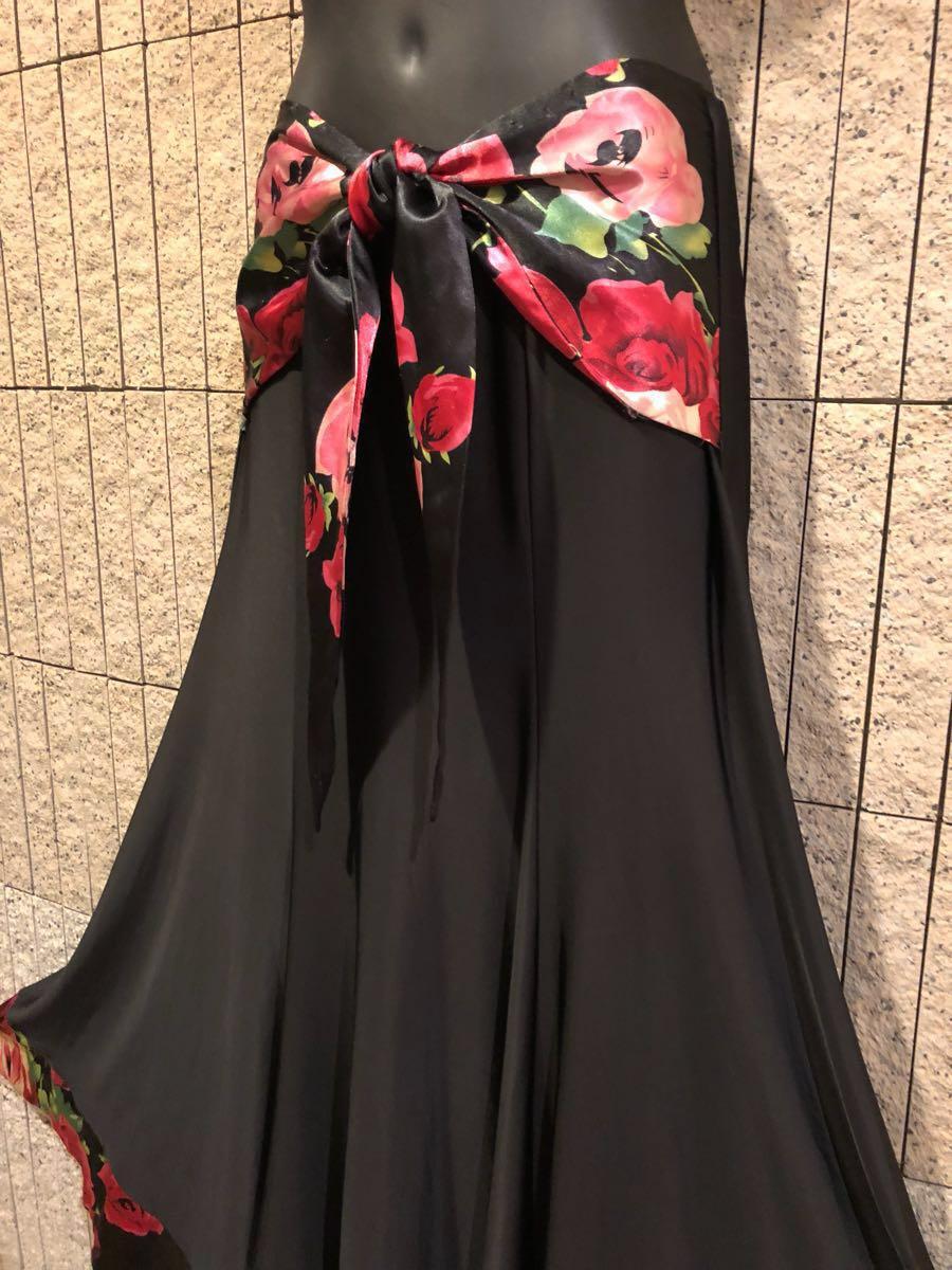 社交ダンス 薔薇 黒スカート パーティー ドレス モダン バラ ロング M スタンダード ブラック リボン_画像5