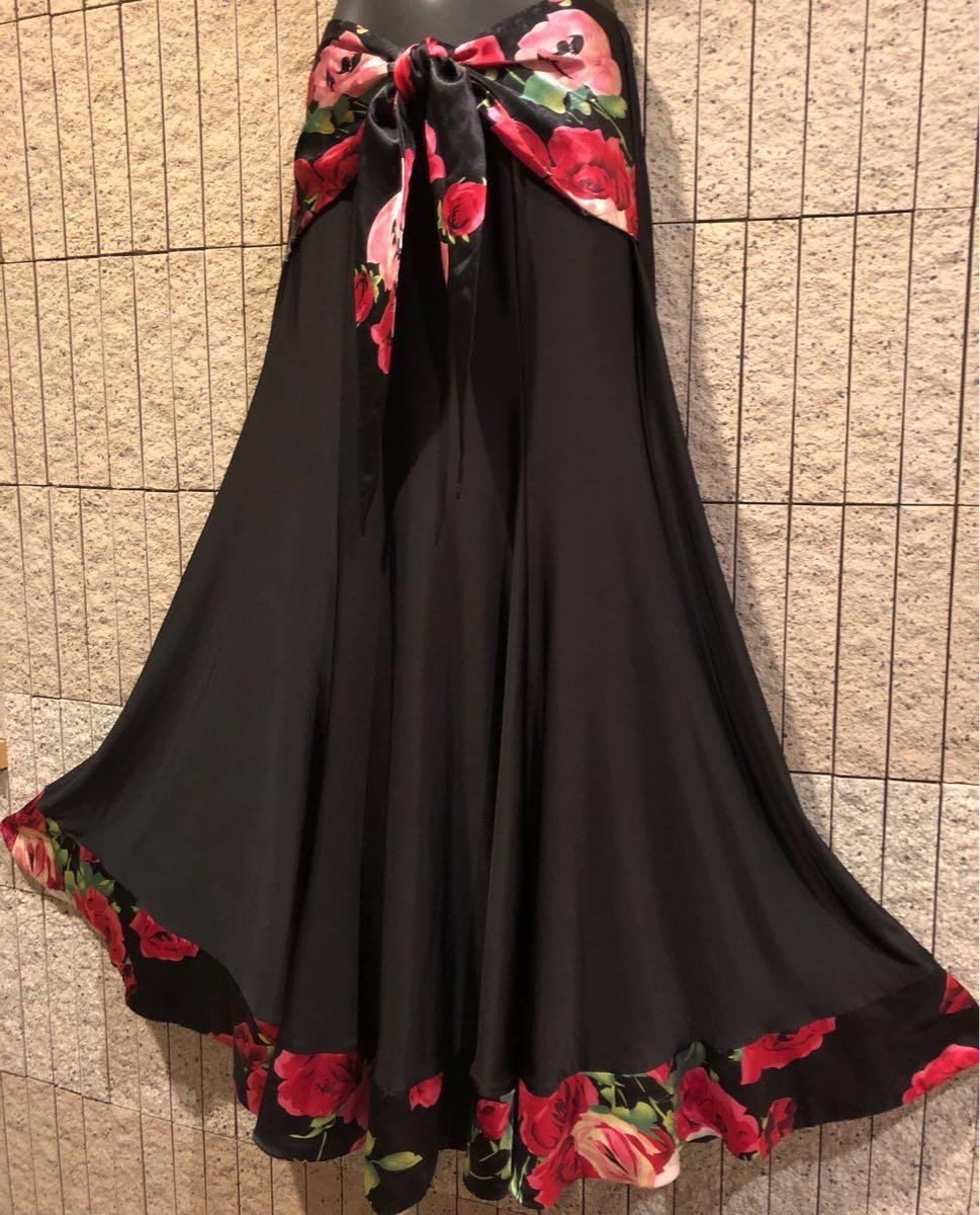 社交ダンス 薔薇 黒スカート パーティー ドレス モダン バラ ロング M スタンダード ブラック リボン_画像4