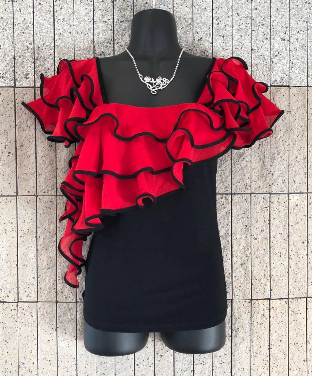 社交ダンス 赤黒 フリル トップス パーティー ドレス タンゴ ラテン モダン カルメン 美品 春