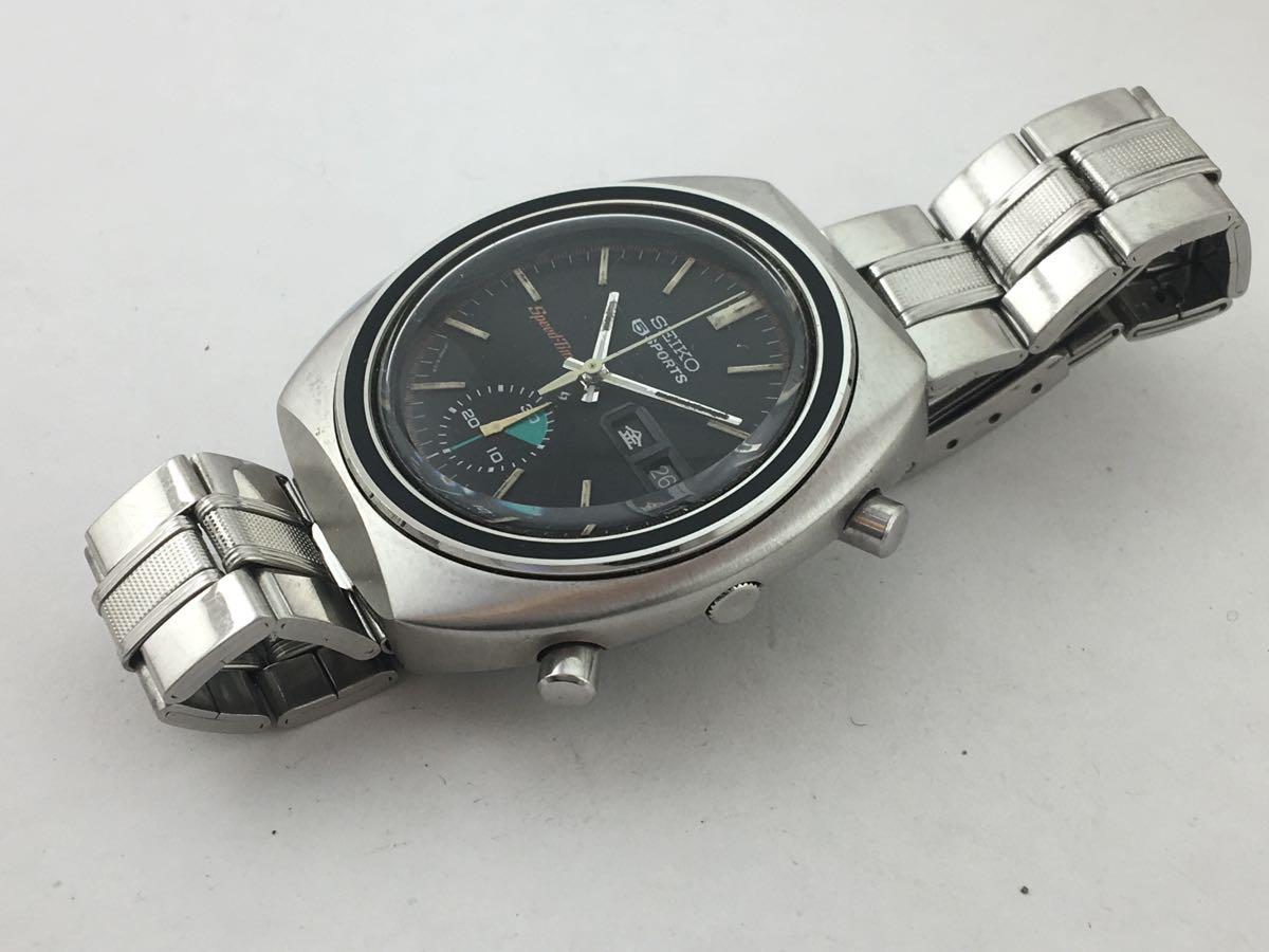 セイコー5スポーツ6139スピードタイマー腕時計メンズ機械式クロノグラフ分解掃除済みOH良好1円~_画像6
