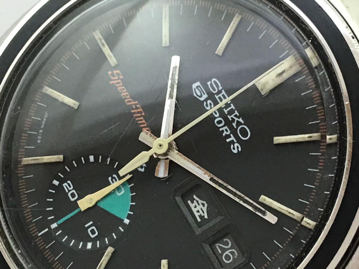 セイコー5スポーツ6139スピードタイマー腕時計メンズ機械式クロノグラフ分解掃除済みOH良好1円~_画像8