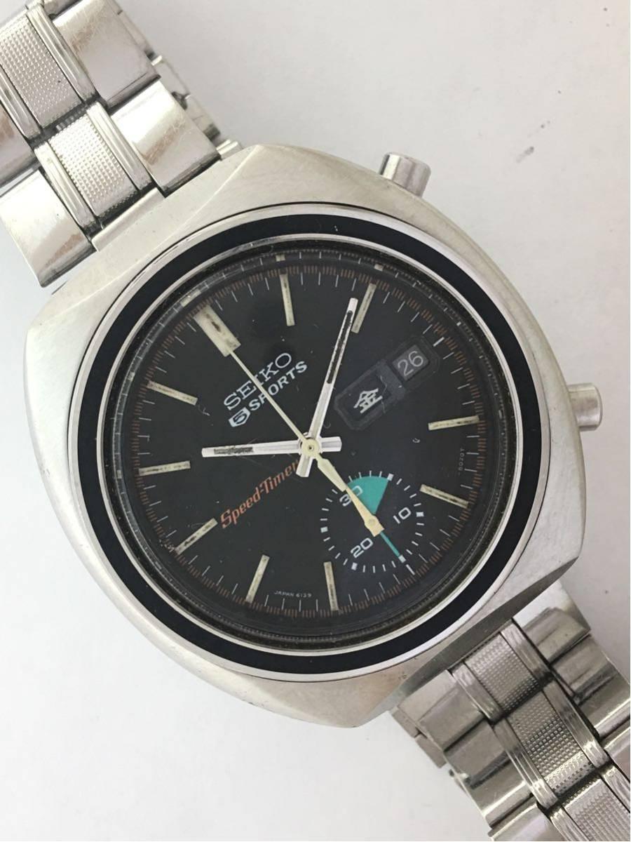セイコー5スポーツ6139スピードタイマー腕時計メンズ機械式クロノグラフ分解掃除済みOH良好1円~