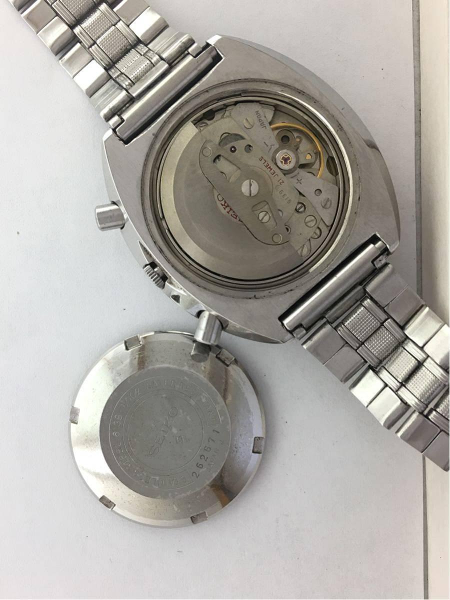セイコー5スポーツ6139スピードタイマー腕時計メンズ機械式クロノグラフ分解掃除済みOH良好1円~_画像2