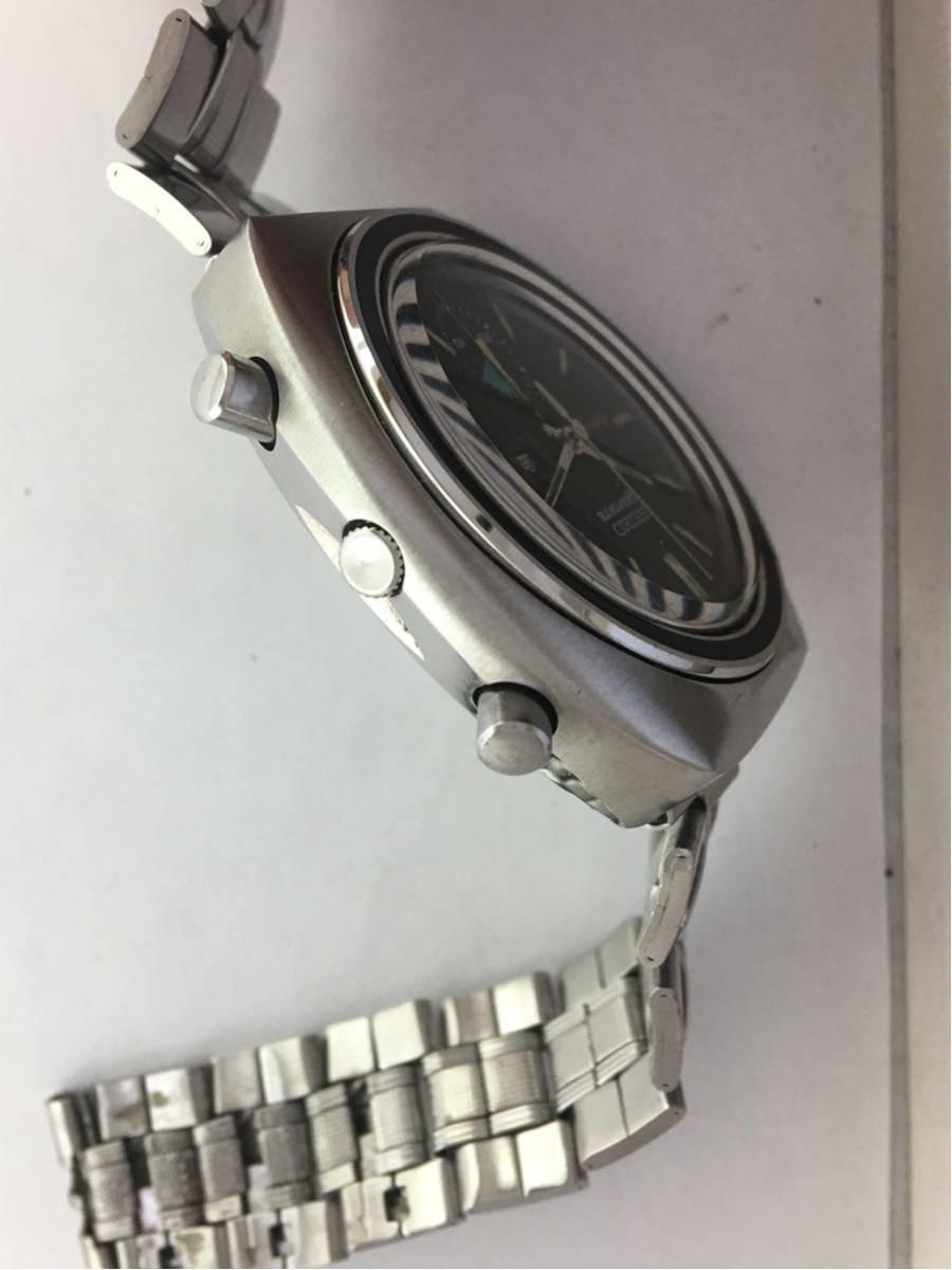 セイコー5スポーツ6139スピードタイマー腕時計メンズ機械式クロノグラフ分解掃除済みOH良好1円~_画像4