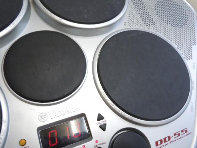 ☆YAMAHA DD-55 デジタルパーカッション ヤマハ STEREO SAMPLED DRUM 電子ドラム MIDI オリジナルの電源アダプター付き スティックおまけ_画像3