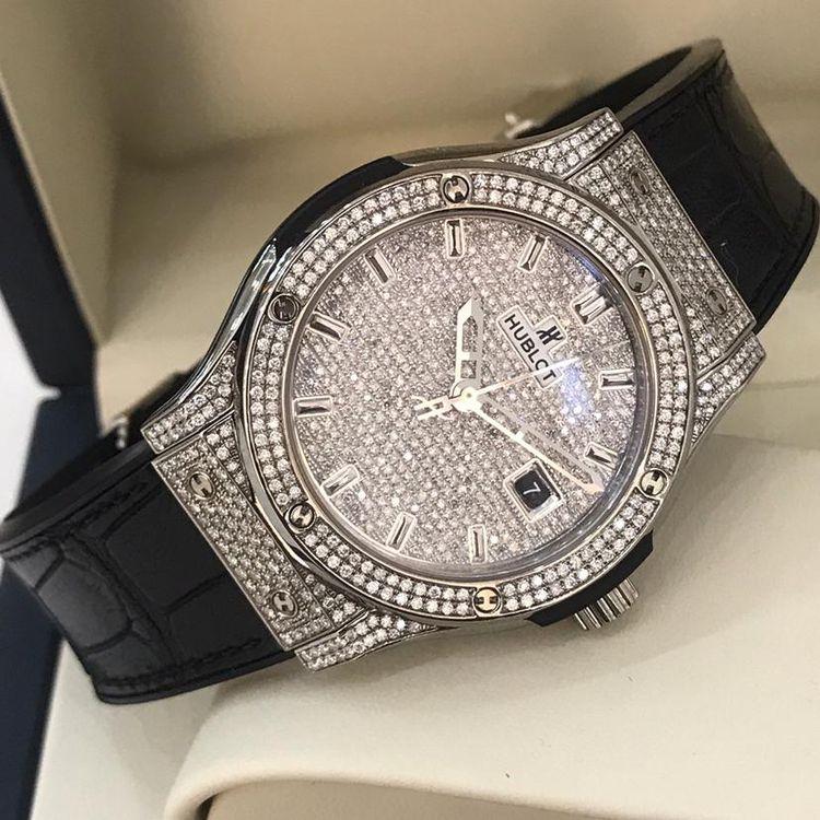 ★最落無し 中古美品 ウブロ HUBLOT 自動巻時計 42mm 腕時計 メンズ ダイヤモンド★