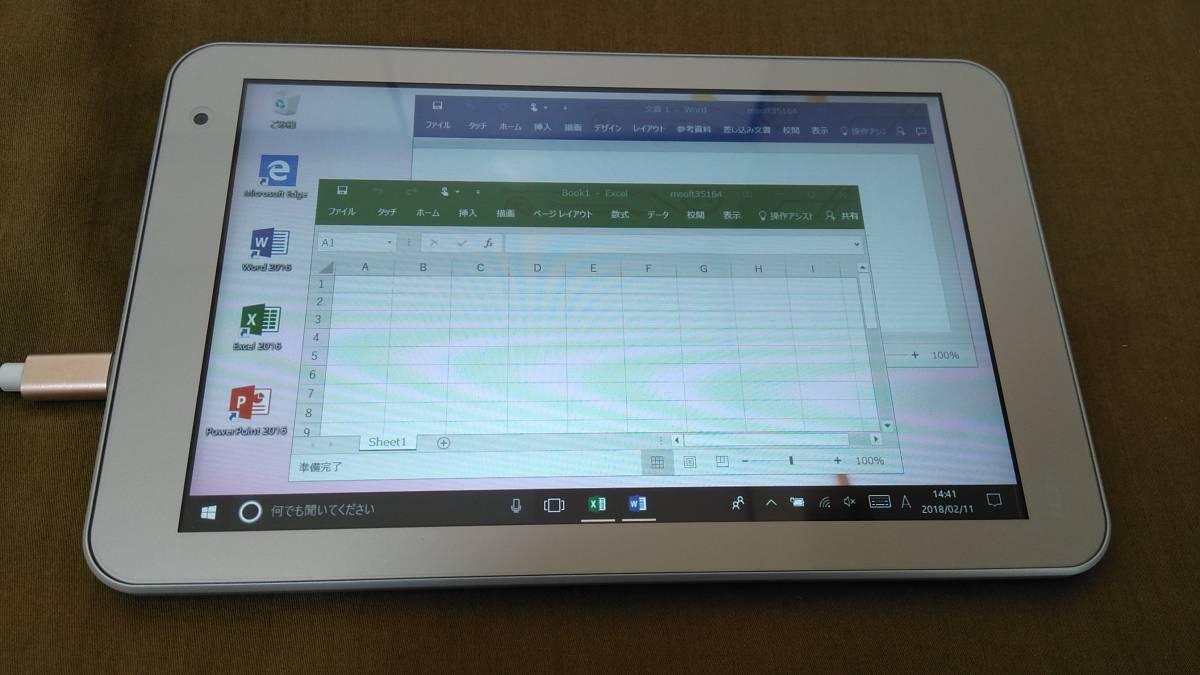 ☆美品☆ 東芝 dynabook tab S38/26M Win10 Office2016 Bluetooth 高速Atom SSD 64GB Wi-Fi 小型 軽量 初心者 女性 Word Excel PowerPoint
