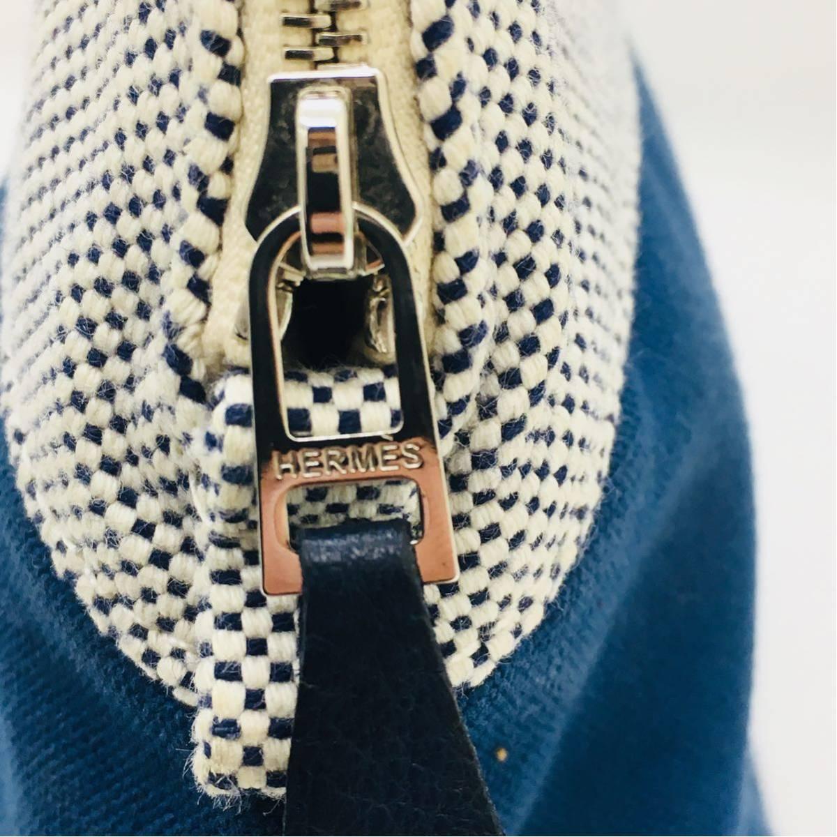 ◆エルメス HERMES ボリードポーチGM サマルカンド コットン レザー 化粧ポーチ レディース 青 インディゴ 美品 本物_画像9