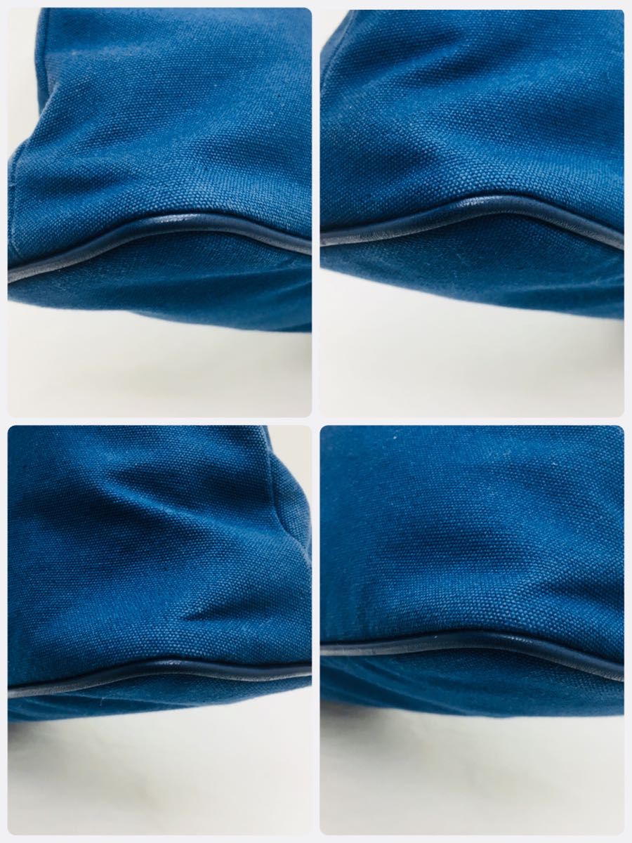 ◆エルメス HERMES ボリードポーチGM サマルカンド コットン レザー 化粧ポーチ レディース 青 インディゴ 美品 本物_画像3