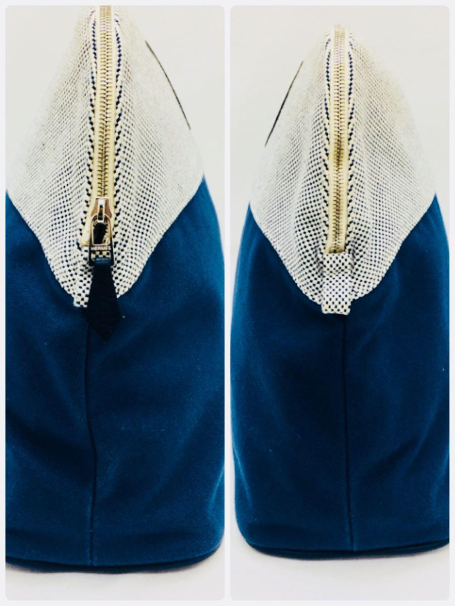 ◆エルメス HERMES ボリードポーチGM サマルカンド コットン レザー 化粧ポーチ レディース 青 インディゴ 美品 本物_画像4