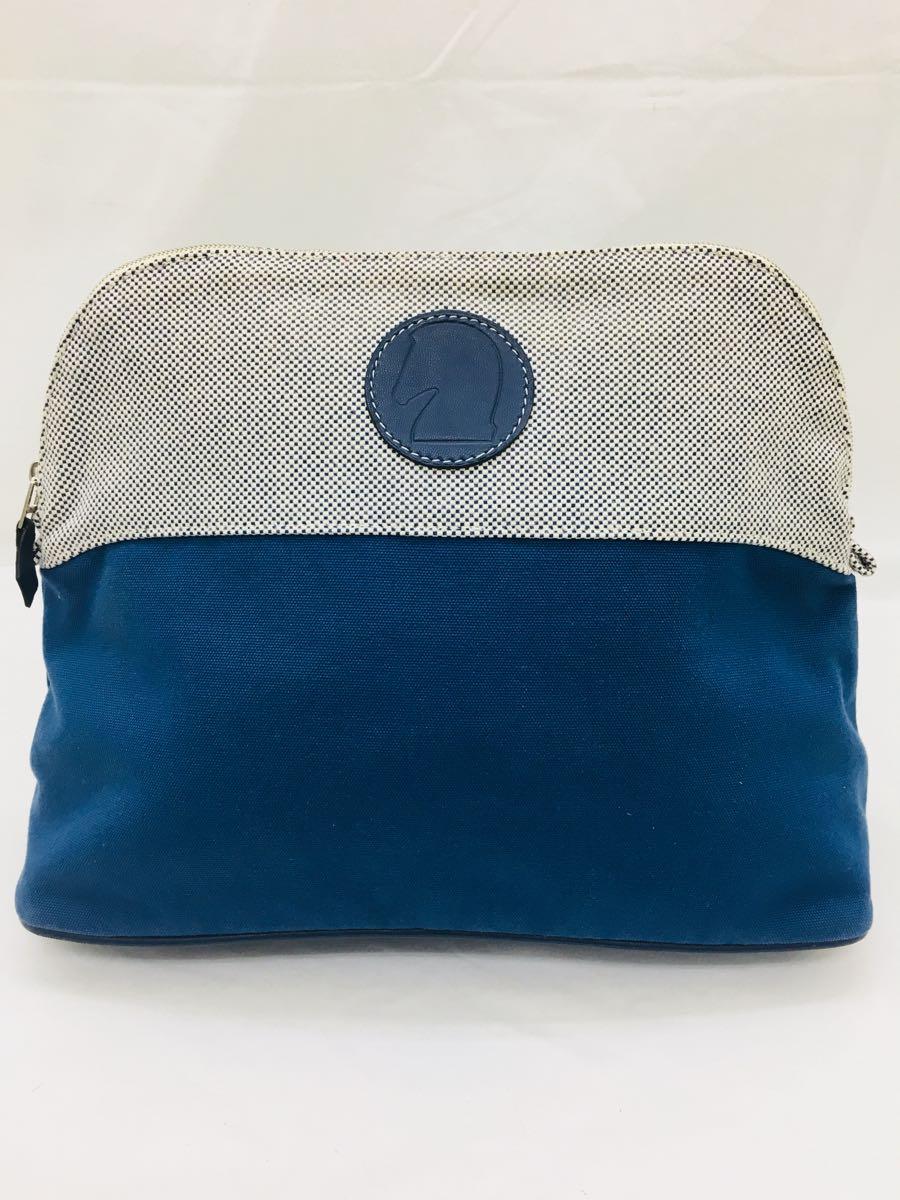 ◆エルメス HERMES ボリードポーチGM サマルカンド コットン レザー 化粧ポーチ レディース 青 インディゴ 美品 本物