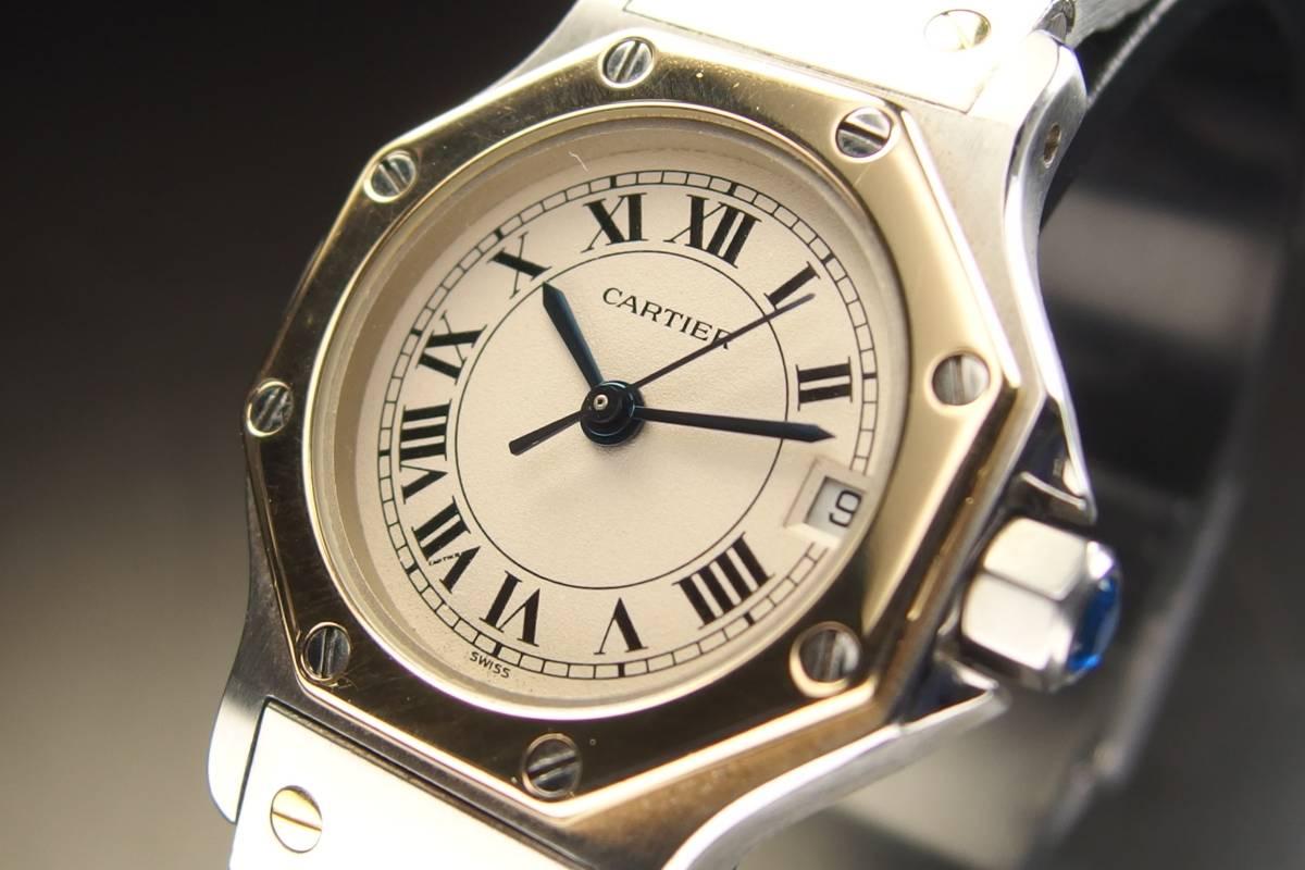 CARTIER カルティエ Santos de Cartier サントス オクタゴン K18YG&SS コンビ 純正ブレス QZ レディース 腕時計