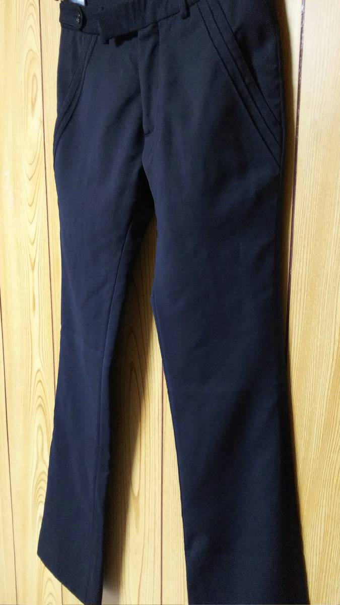正規良 激レア Dior Homme ディオールオム スラックス黒 40P XXS 男女兼用可◎26 スーツ フレアパンツ セットアップ ブラック無地 メンズ_画像5