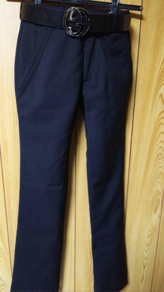 正規良 激レア Dior Homme ディオールオム スラックス黒 40P XXS 男女兼用可◎26 スーツ フレアパンツ セットアップ ブラック無地 メンズ_3.8幅のメンズベルトも着用可能〇