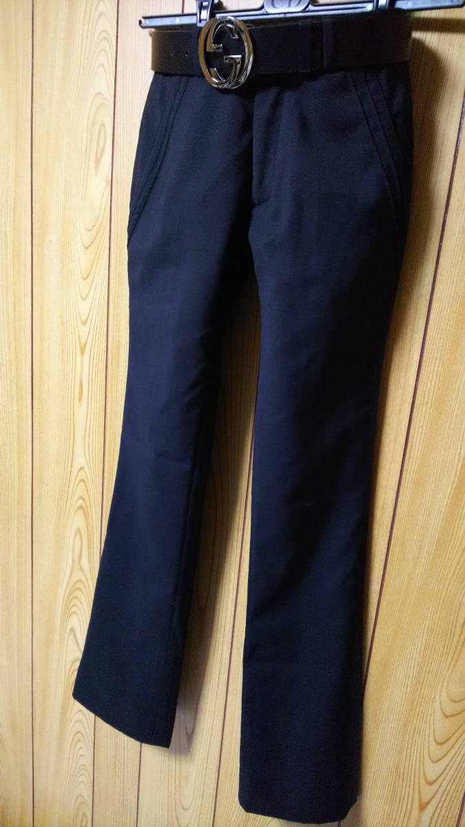 正規良 激レア Dior Homme ディオールオム スラックス黒 40P XXS 男女兼用可◎26 スーツ フレアパンツ セットアップ ブラック無地 メンズ_ベルトイメージ画像
