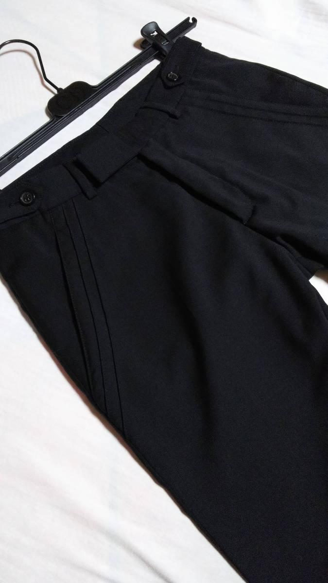 正規良 激レア Dior Homme ディオールオム スラックス黒 40P XXS 男女兼用可◎26 スーツ フレアパンツ セットアップ ブラック無地 メンズ_さりげなくポケットもカッティングライン★
