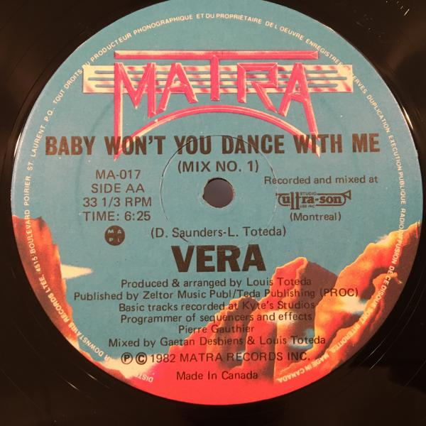 ☆Vera/Baby Won't You Dance With Me☆SYNTH DISCO名曲!_画像1
