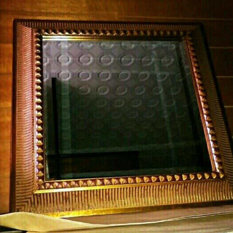 アンティーク ゴールド 壁掛け ミラー 鏡 金 ビンテージ 四角 インテリア 置物 オブジェ アジアン 骨董 骨董品 金色 エジプト 昭和 レトロ_画像1