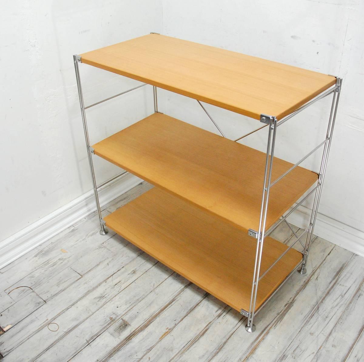 無印良品 MUJI ステンレスユニットシェルフ タモ材 木製棚セット ワイド 3段 2