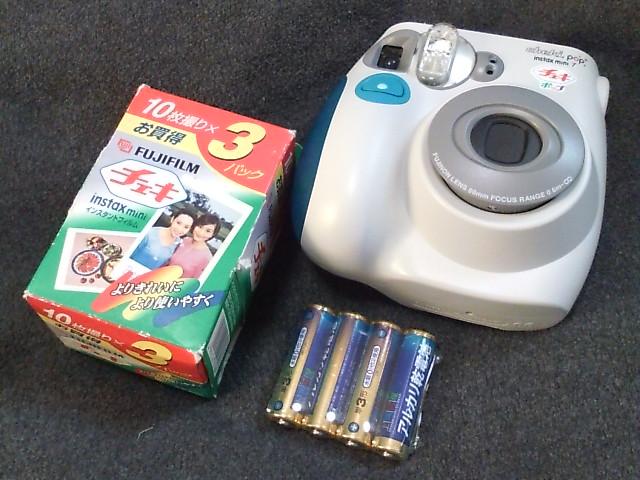 送無料 後払可 美品動品フィルム乾電池付『FUJIインスタントカメラinstax mini7チェキ ポップ ブルー』(検 インスタックス)領収書可 即決有