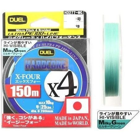 DUEL PEライン ハードコアX4 150m0.6号12LB ミルキーグリーン_画像1