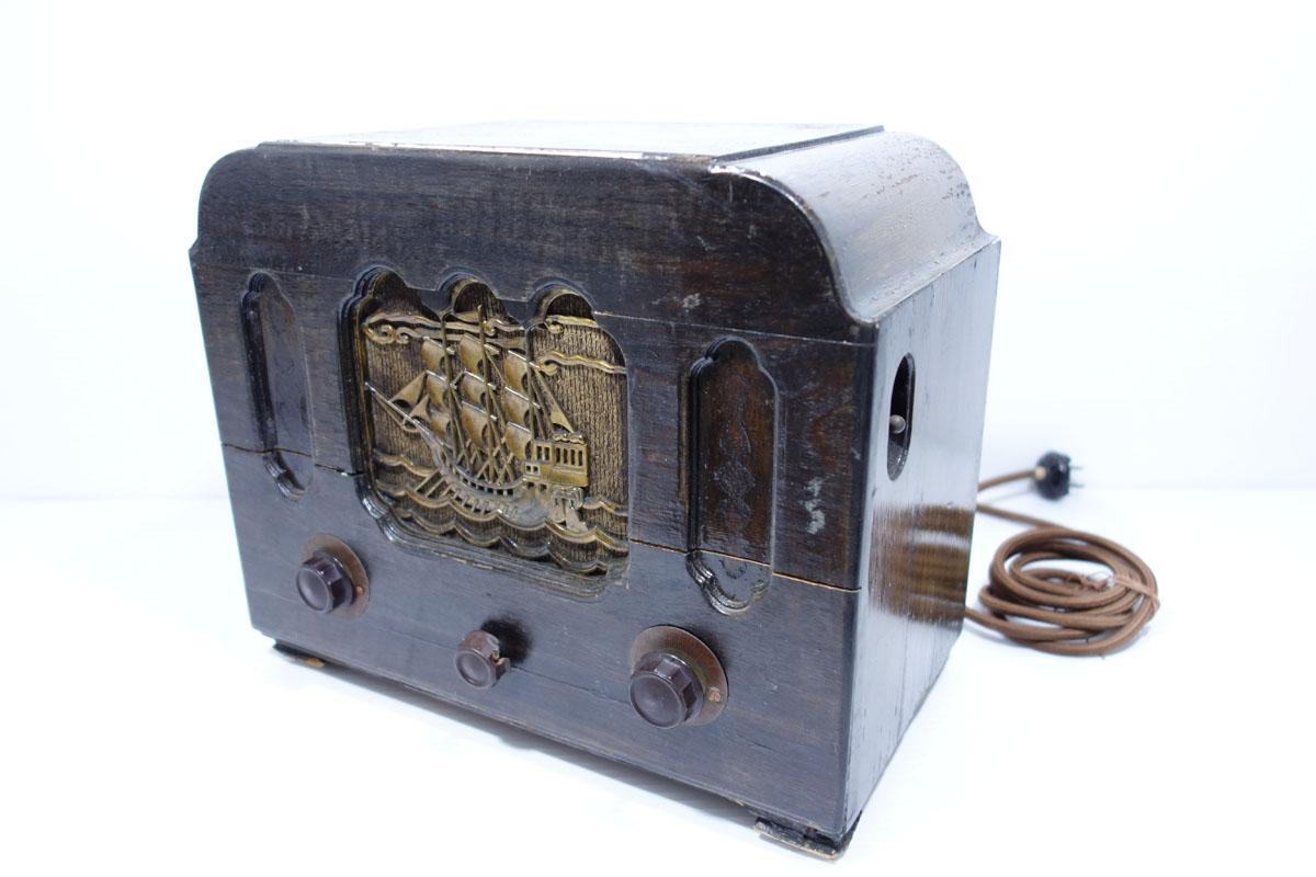 真空管ラジオ ヘルメス受信機 P-4型 ジャンク [Hermes][大阪電圧機器]