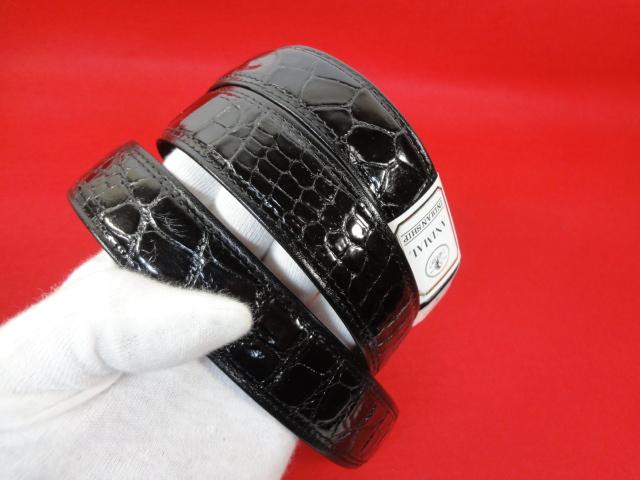【高級素材】本物 クロコダイル ベルト 黒 ワニ革 クロコ エキゾチックレザー 男性用 メンズ 全長119cm 幅3cm 日本製 未使用品 美品_画像7