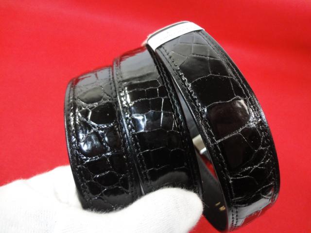 【高級素材】本物 クロコダイル ベルト 黒 ワニ革 クロコ エキゾチックレザー 男性用 メンズ 全長119cm 幅3cm 日本製 未使用品 美品_画像9