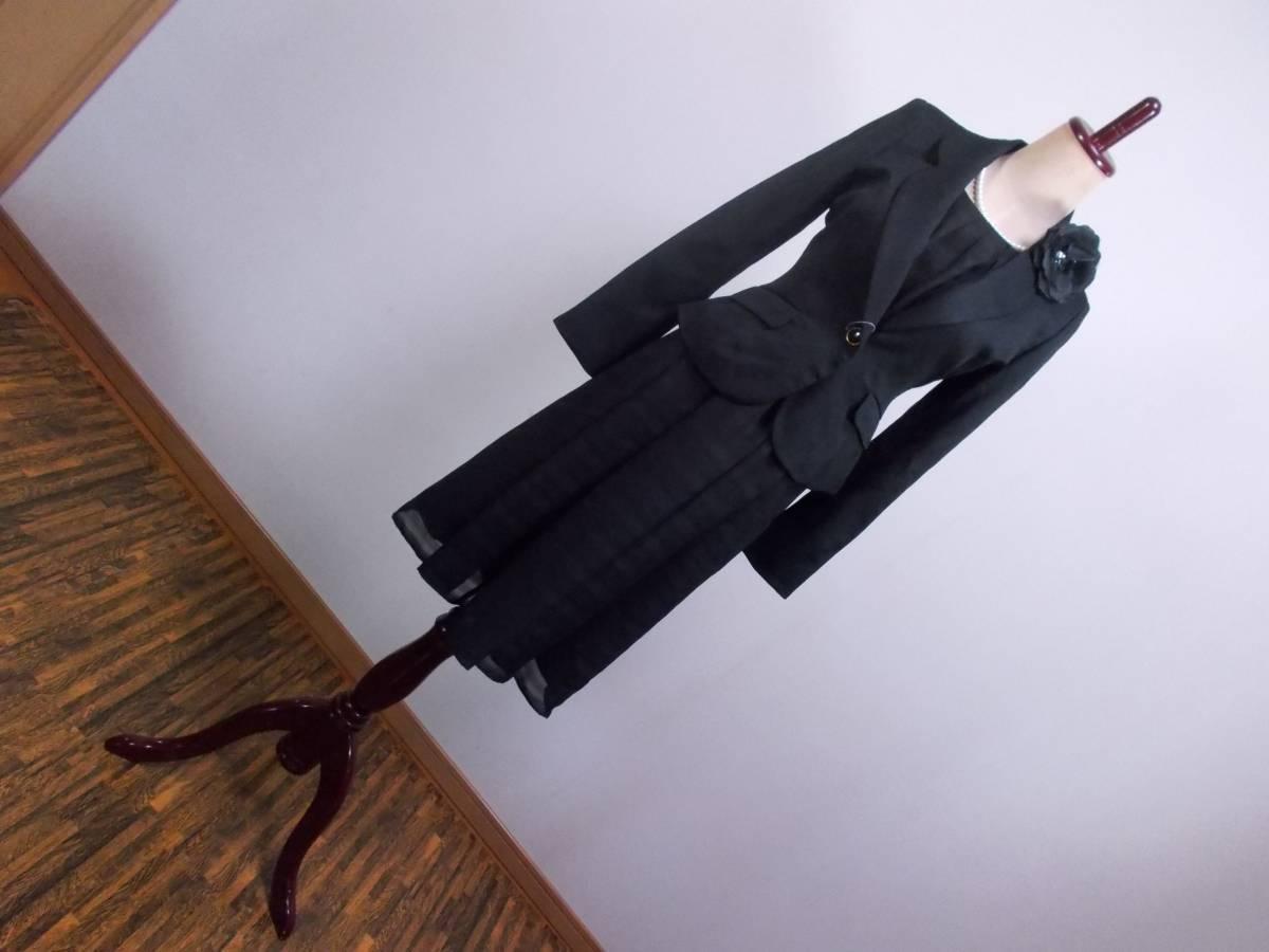 30-156新品ブラックフォーマルスーツセレモニー黒テーラードジャケット半袖シフォンワンピース5号S SS5AR58卒業式入学式結婚式発表会_画像1