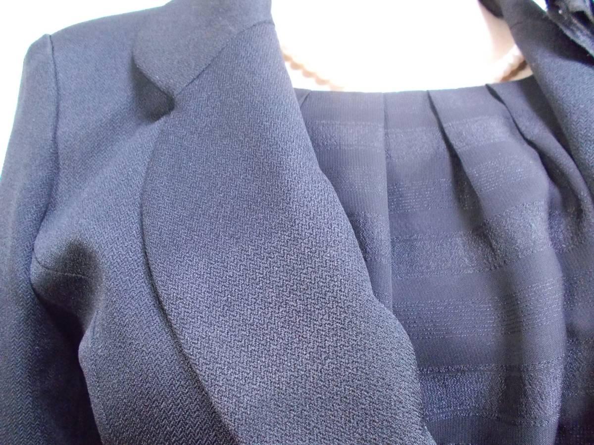 30-156新品ブラックフォーマルスーツセレモニー黒テーラードジャケット半袖シフォンワンピース5号S SS5AR58卒業式入学式結婚式発表会_画像2