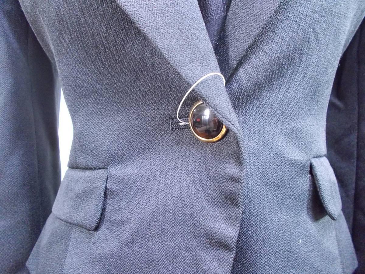 30-156新品ブラックフォーマルスーツセレモニー黒テーラードジャケット半袖シフォンワンピース5号S SS5AR58卒業式入学式結婚式発表会_画像3