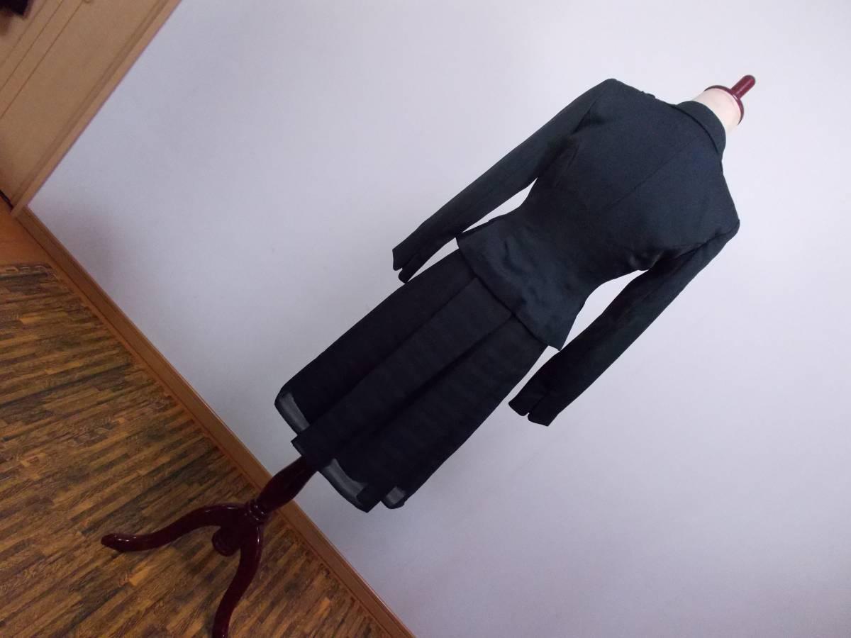 30-156新品ブラックフォーマルスーツセレモニー黒テーラードジャケット半袖シフォンワンピース5号S SS5AR58卒業式入学式結婚式発表会_画像7